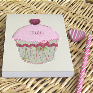 Personalised Cupcake Embroidered Notebook - wedding thank you gifts