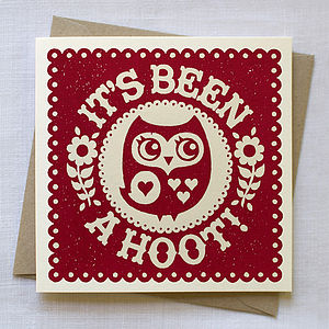 Hand Printed 'It's Been a Hoot' Card - cards