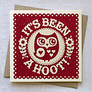 Hand Printed 'It's Been a Hoot' Card