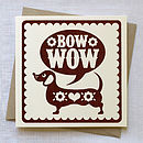 Hand Printed Sausage Dog Card