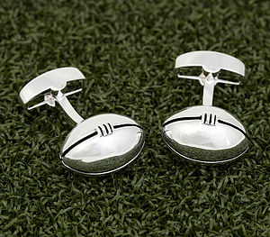 Silver Plated Rugby Ball Cufflinks - men's accessories