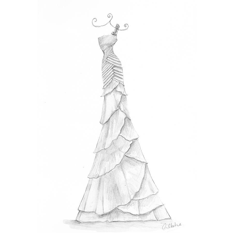 Pencil Wedding Dress Portrait By Appleberry Press