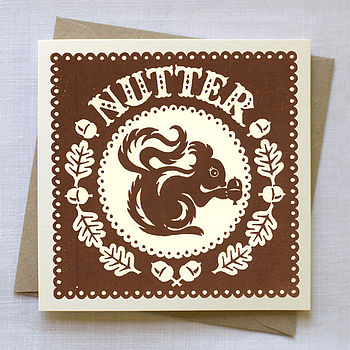 Hand Printed 'Nutter' Card