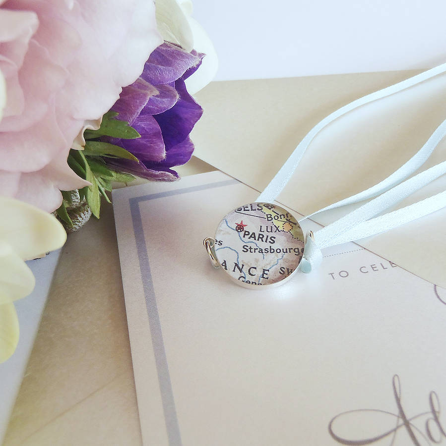 Personalised Map Bridal Bouquet Charm By EVY Designs Ltd