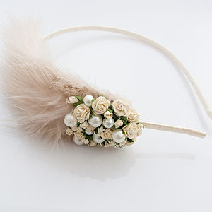 Marlene Blush Rose Pearl Feather Headband - hair accessories