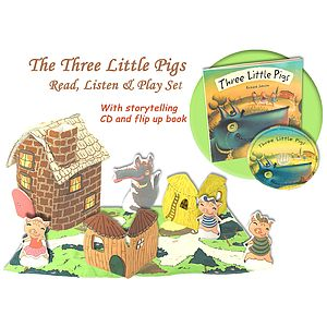 Three Little Pigs Book, CD And Play Set - baby & child sale