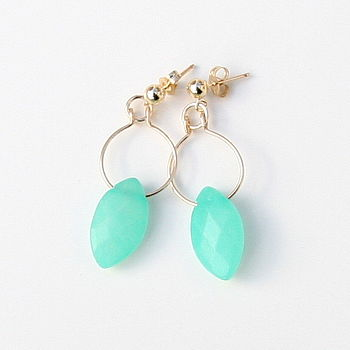 Hemimorphite Drop Stud Earrings