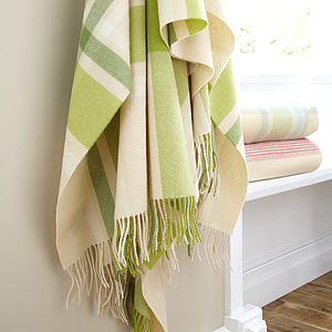 Lambswool Throw Green Plaid - blankets & throws