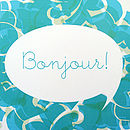 Illustrated 'Bonjour' Typography Art Print