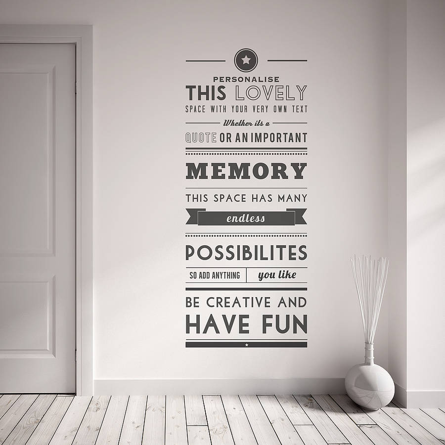 personalised quote wall sticker by oakdene designs