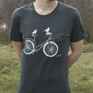 Organic Men's 'Birds On A Bike' T Shirt