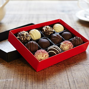 Chocolate Dipped Cake Truffles Medium Box - cakes & cupcakes
