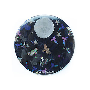 Midnight Birds Printed Pocket Mirror - beauty accessories