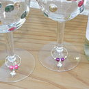 Set Of Four Dainty Heart Wine Glass Charms