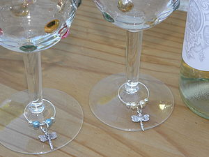 Set Of Four Dragonfly Wine Glass Charms