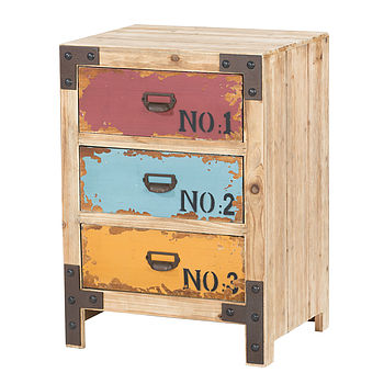 Distressed Painted Three Drawer Cabinet