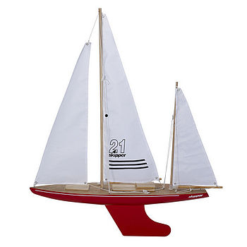 Toy Sailing Yacht, Free Stand, Red