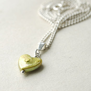 Fresh Green Pearl Heart Necklace by Rachel Lucie