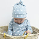 Misty Blue Star Print Baby Hat
