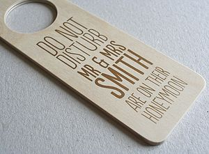 Personalised Honeymoon Door Hanger - outdoor wedding signs