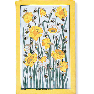 Daffy Bees Linen Tea Towel - easter home