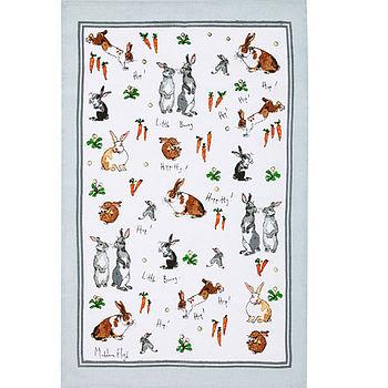 Hippety Hoppety Bunnies Linen Tea Towel