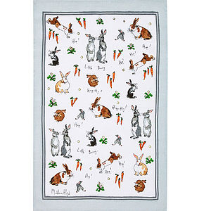 Hippety Hoppety Bunnies Linen Tea Towel - easter home