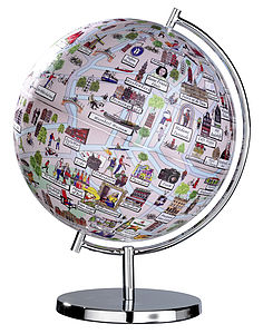 Illustrated Amsterdam Globe - more