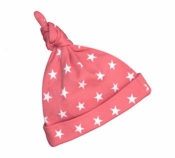 Flamingo Pink Star Print Baby Hat
