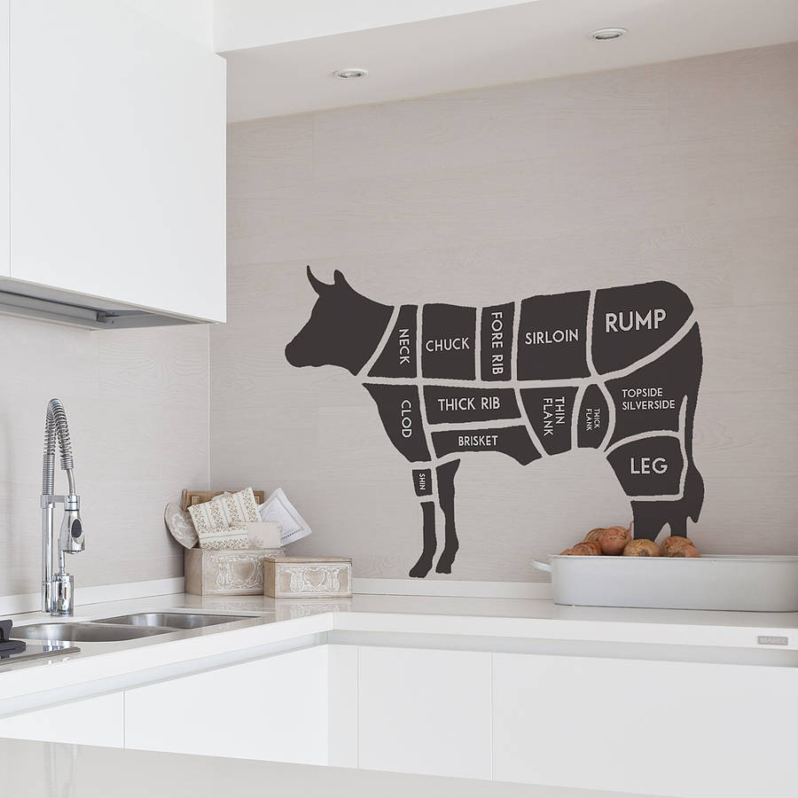 butchers cow wall sticker by oakdene designs