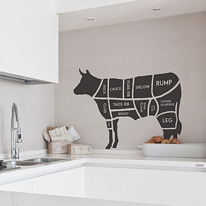 Butcher's Cow Wall Sticker - wall stickers by room