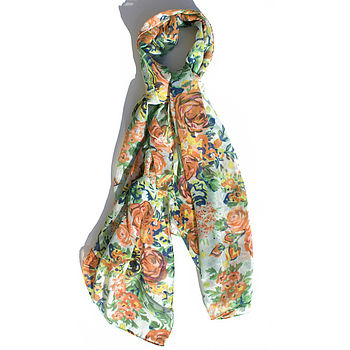 Sale 30% Off Painted Floral Print Scarf
