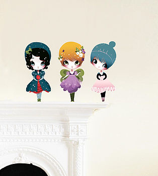 Dress Up Dolls Fabric Wall Stickers Puzzle S