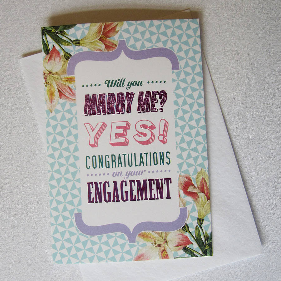 Floral Kitsch Engagement Card