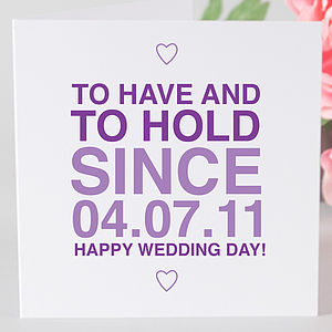 Personalised Wedding Day 'Since' Card