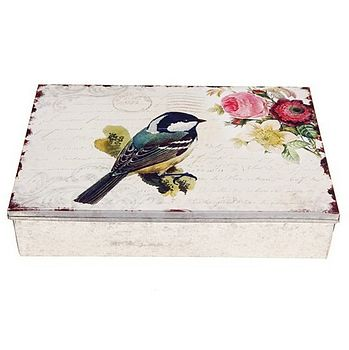Large Bird Print Tin