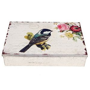 Large Bird Print Tin - storage & organisers