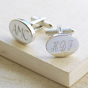 Engraved Oval Cufflinks - groom's accessories