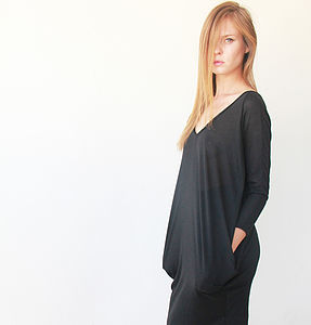 Jesrey Long Sleeve Tunic Dress With Pockets - maternity wear