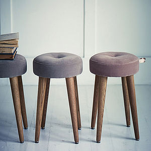 Cadby Velvet Button Stool - furniture