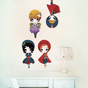 Dress Up Dolls Fabric Wall Stickers Puzzle - painting & decorating