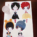 Dress Up Dolls Fabric Wall Stickers: Fairy, Super Girl, Snow White, Red Riding Hood