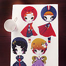 Dress Up Dolls Fabric Wall Stickersd