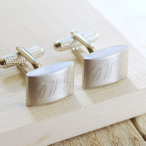 Brushed Finish Cufflinks - personalised