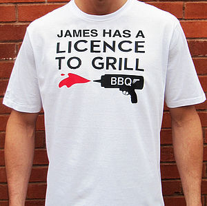 Personalised 'Licence To Grill' Men's T Shirt
