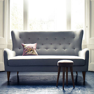 Fenton Wing Backed Stone Sofa - try the trend: yellow and grey