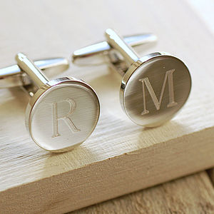 Round Initial Cufflinks - wedding jewellery