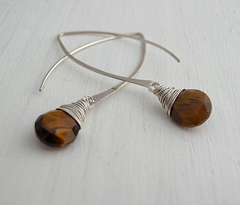 Tigers Eye Silver Hoop Earrings