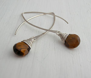 Tigers Eye Silver Hoop Earrings - women's jewellery