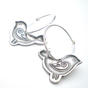 Silver Folk Bird Earrings Hoop Style